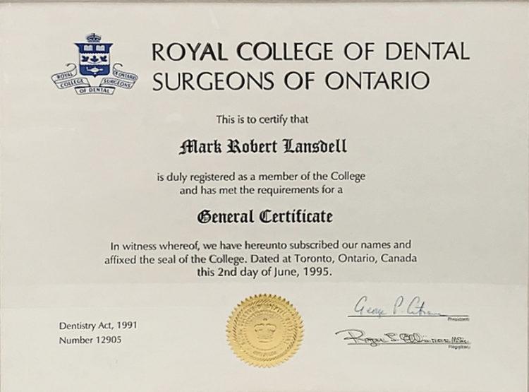 Dr. Mark Lansdell   Royal College of Dental Surgeons