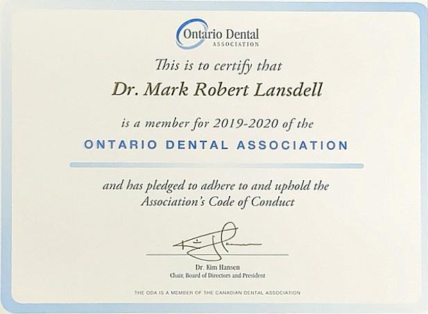 Dr. Mark Lansdell - ODA Certificate